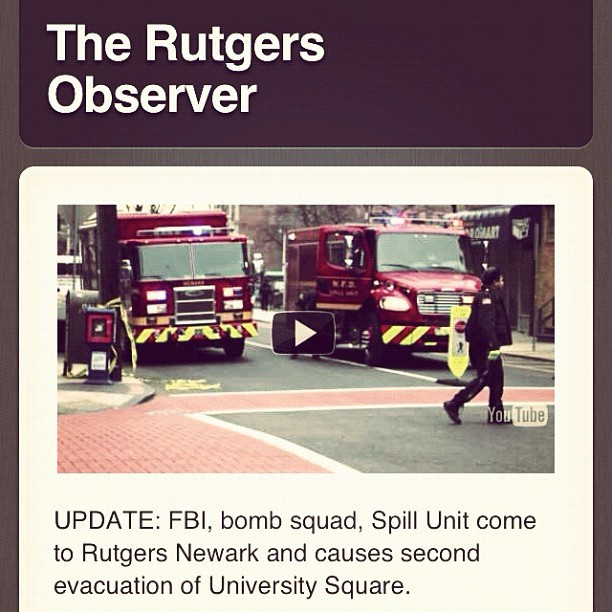 UPDATE: follow up on the bomb scare at #rutgers #newark. Follow @rnobserver and read at www.therutgersobserver.tumblr.com !!! (Taken with instagram)