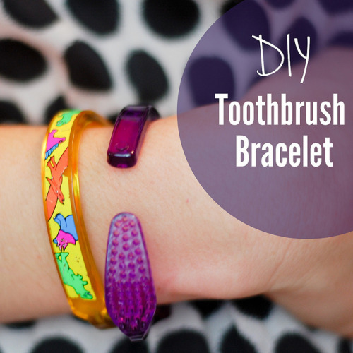 "fuckyeahmakingstuff:  What you need to make a toothbrush bracelet:♥Toothbrush ♥Pliers♥Pot and stoveThe first thing you need to do is put the toothbrush in boiling water. I recommend the cheapest toothbrush you can find, whether that's at the Dollar Store or wherever— just as long as it is the simple kind. I tried this with a Snoopy toothbrush for kids and it did not work. You need the clear plastic kind.After you have let the toothbrush boil for about a minute, (or until it gets soft) you can easily pull out the bristles with your pliers. After you've pulled out all the bristles and those weird little metal pieces, stick the toothbrush back into the boiling pot until it becomes as floppy as Harry Potter's boneless arm after Professor Lockhart accidentally ""healed"" him. (Yeah. I went there. But it really reminds me of that scene in the book! Try it. You'll see. ;)) Bend the toothbrush until it fits your wrist. You might have to put it back into the boiling water to adjust sections, but if you have the right kind of toothbrush it should work well. Don't burn yourself!(Source.)  My friends & I used to make these all the time when we were kids."
