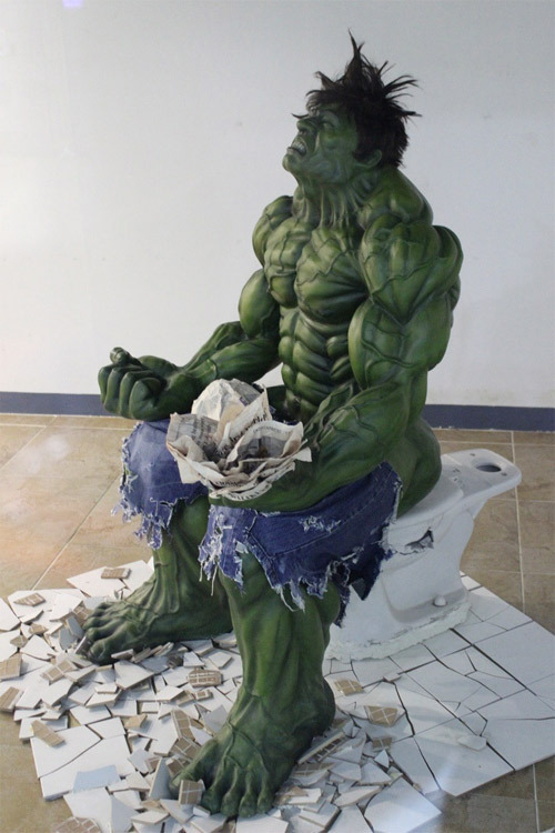 (via Obvious Winner - So Easy To See The Awesomeness - ow - Incredible Hulk on the Toilet Statue Smashing an O-Ring)