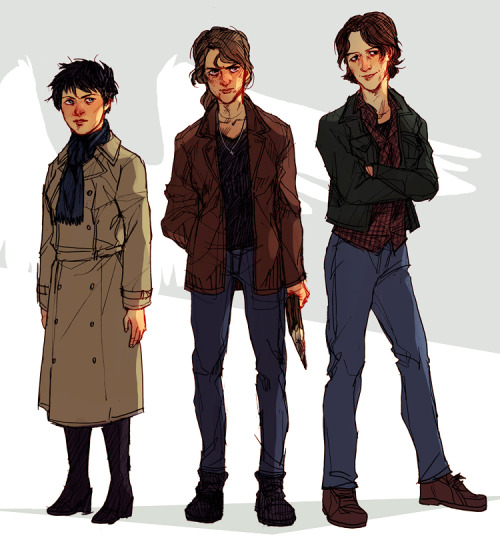 rule63rules:  [Image: Rule 63'd Castiel, Dean, and Sam from Supernatural. Castiel's wings are blocked out in white against the drop shadows behind the three. Dean is holding a wooden stake, and Sam is smiling with her arms crossed.] hoursago:  castiel, deanna and samantha? still not sure about fem sam dfjhdskfjdf…. i feel like cas would be the only one regularly wearing heels because when he possessed fem jimmy she was wearing them at the time, and also it would be really cute