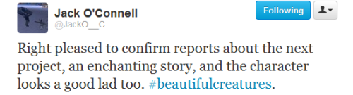 Awww, don't you just love Jack O'Connell!!! He's gonna be an awesome Ethan!  lazarusgirl:  This makes me very happy indeed. So proud of our boy JOC right now.