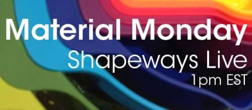 Join us for Material Monday on Shapeways Inform your designs with the AMAZING new 3D Printed materials samples we have in the Shapeways office and take a look at some of the post processing techniques we have been experimenting with in the Shapeways Labs NYC version 1.0