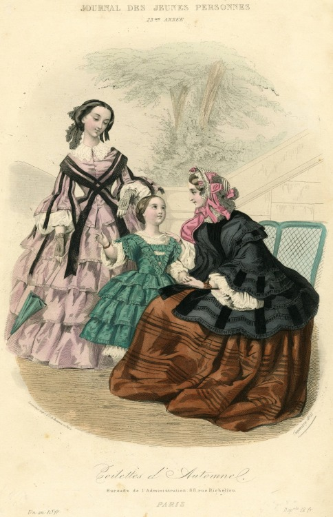 Day and walking or visiting dress for women and girls, 1855 France, Journal des Jeunes Personnes