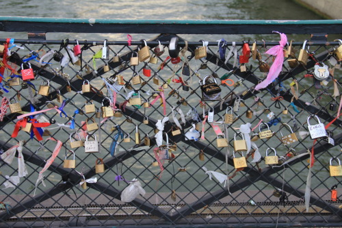 Sardonicx:  oh-trees:  Pont des Arts, a pedestrian bridge in Paris. People carve or write them and their lovers names on the locks, lock them onto the fence and throw the key into the Seine.  Heart warming…  Paris Paris.. Ville-Lumiere. :)