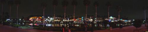 orlandothemeparks: Panoramic shot of CityWalk at Universal Studios at night