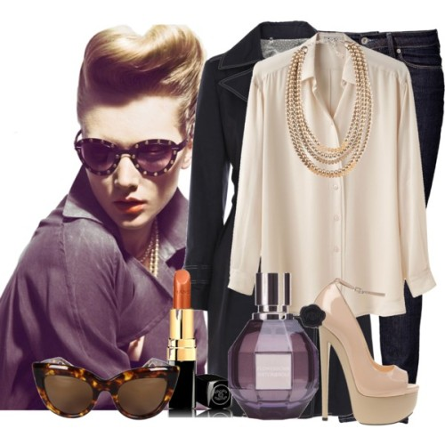 #124 Mi ancla tú serás. by imstylish featuring shiny shirtsAcne shiny shirt, $250Weekend Max Mara navy blue coat, £189Levi Strauss & Co demi jeans, 895 NOKGiuseppe Zanotti peep toe shoes, $930Fornash pewter necklace, $68Sabre Vision sunglasses, $140Viktor & Rolf Flowerbomb Extreme 50ml, £72ROUGE COCO Hydrating Crème Lip Colour - CHANEL - What's New - Makeup -…, £23