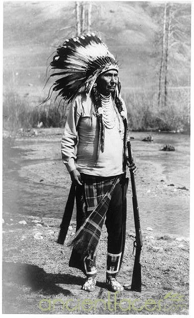 Chief Joseph of the Nez Perce  This is a photo of Chief Joseph of the Nez Perce in 1903. He lead the tribe when the U.S. government was trying to force them onto reservation land in Idaho. [ Source Chief Joseph of the Nez Perce ]