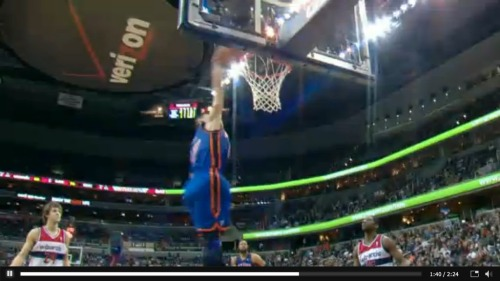 inothernews:  Jeremy Lin tonight: 23 points and 10 assists and this here dunk in a 107-93 win by the Knicks over the Washington Wizards. Your new catchphrase: Linsanity.  LINFUCKINGSANITY