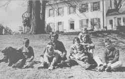 Robert and Ethel Kennedy pose for a photo with their family at Hickory Hill, their home in McLean, Virginia