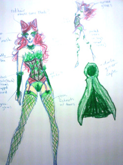 Costume design for a possible Poison Ivy burlesque routine I hope to do for Galaxyfest :3