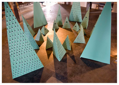 """Triangles"" Cardboard, Tape, Paint, Ink 2011/2012"