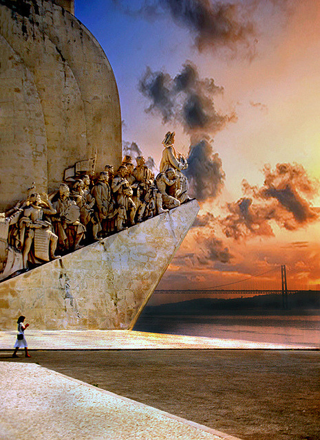 onologue:  Sunset at the Monument to the Discoveries in Lisbon by h_roach on Flickr.