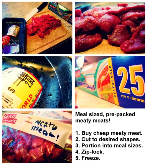 Tip for saving money when buying and storing your meaty meats. This is perfect for stir-fry, by the way!
