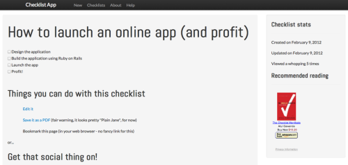 ChecklistApp.net Make, share, save and print checklists. Made by @rdempsey.
