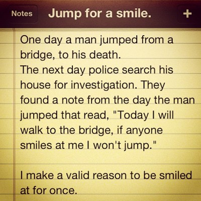 #jump #for #a #smile #destroyed #depression #lost #love  (Taken with instagram)