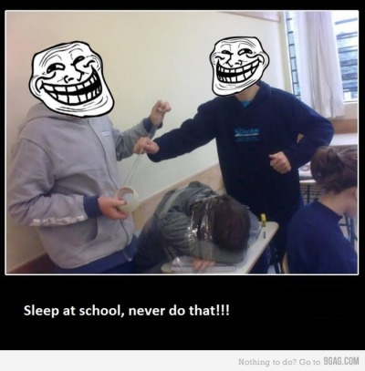 The reason why it's hard to sleep in school is because of the people who aren't sleeping. Those people who are awake love the entertainment in seeing people sleep like beasts. xD Some people do pranks which are the worst of all. :) Everyone just loves a good laugh from an innocent sleeping friend.