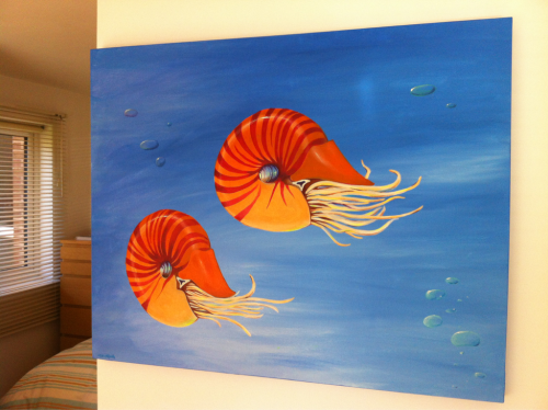 Huge Nautilus commission.  Acrylic on canvass.