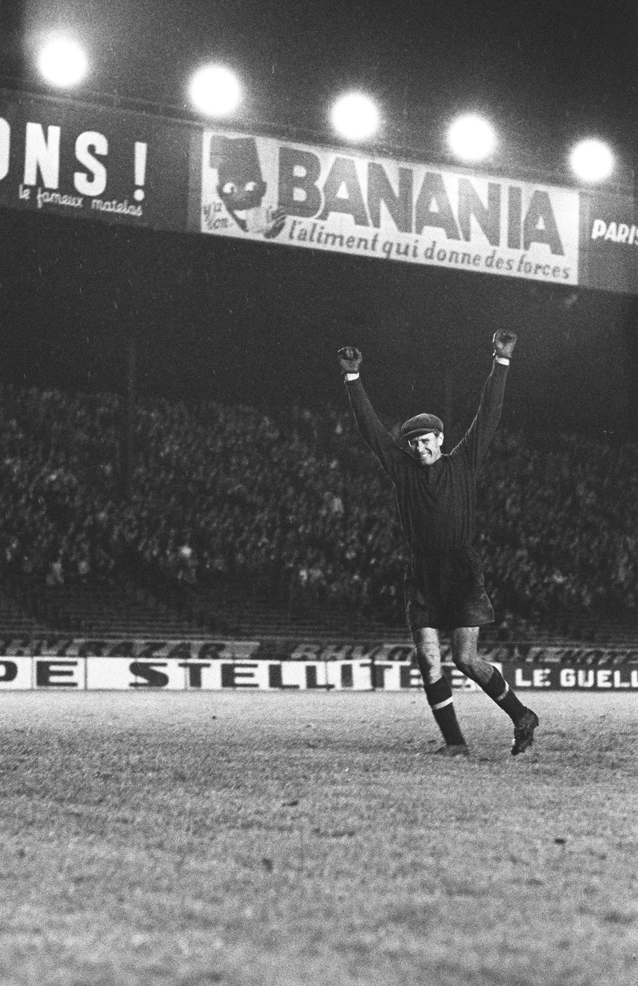 Lev Yashin, celebrating USSR's win over Yugoslavia in the first European Championship, 1960.