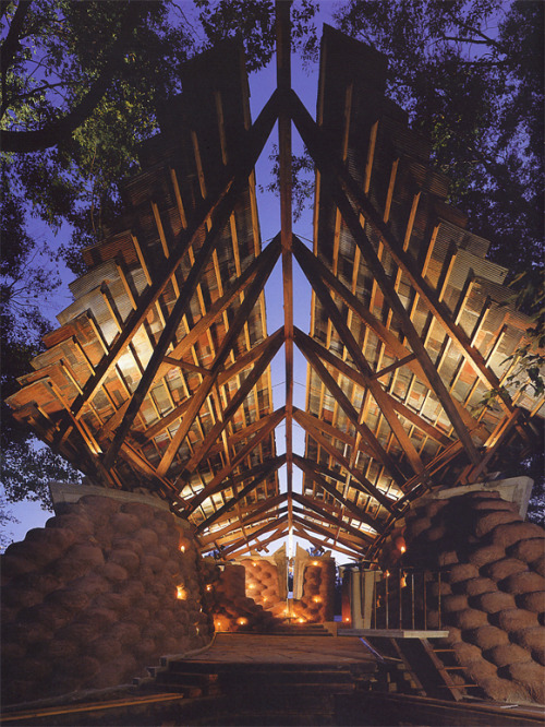 enochliew:  Yancy Chapel by Ruard Veltman, Steve Durden, and Tom Tretheway The three students created this retreat for less than $10,000, using 1000 donated tires, local slate from the Black Warrior River, timber and steel beams from old bridges and condemned houses and scraps of rusted tin from dilapidated barns.