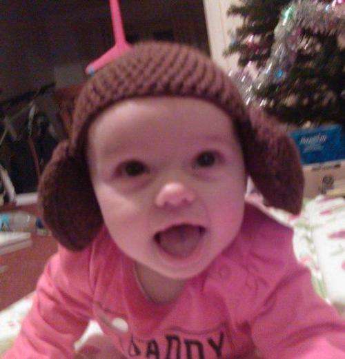 My 'Star Wars' hat collection is growing!  Here modeled by the beautiful Evie is my 'Princess Leah' hat.  Described by her Daddy as part hat part earmuffs, I love this fun little hat that transforms its wearer into Leah's iconic bun hairstyle!