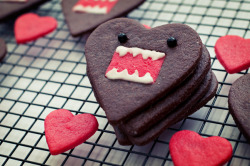 chocolate domo-kun heart cookies