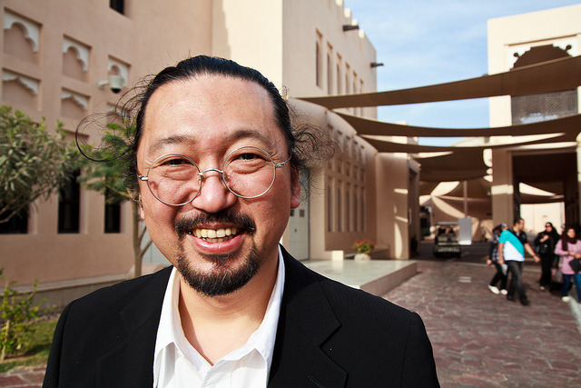 "Takashi Murakami @ Katara, by Omar Chatriwala. The Japanese artist tours Katara, Qatar's ""cultural village"", ahead of the public opening of his show ""Ego"" tonight at the Qatar Museum Authority's Al Riwaq Exhibition hall."