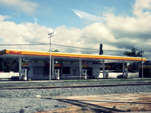 Abandoned gas station after the train incident