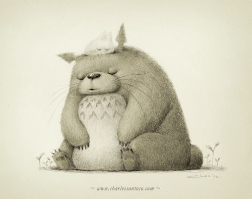 charlessantoso:  My tribute to Totoro. I was just setting a scene and trying not to screw Miyazaki's perfect character design :)