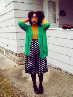 For the red rim glasses, red lips, curly fro, green, mustard and polka dots calivintage:  bianca of avant blargh.