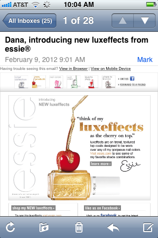 I got this e-mail from essie this morning… Shouldn't this e-mail have gone out a few months ago?