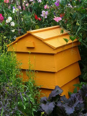 "It looks like a bee hive, but it's actually a composter - how cool is this? Composting can really ""bee"" beautiful! Made by grow4it in the UK."