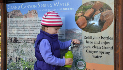 Grand Canyon to ban bottled water salesThe ban comes in response to concerns that plastic bottles scattered around the park were spoiling views of the natural wonder. The National Park Service has approved a plan that will eliminate the sale of bottled water within 30 days, after nearly $290,000 was spent to install 10 water stations inside the park. Visitors can use the stations to refill their own water bottles, which they can tote in from the outside.