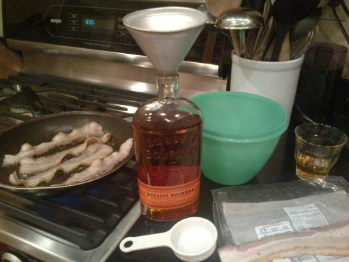 braiker:  Last night I infused a bottle of bourbon with bacon grease. Tonight, or possibly tomorrow, I will drain it out and drink it. I am more than a little excited.  all the cool kids are doing it.