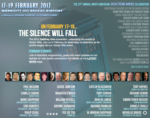 23rd Annual Gallifrey One North American Doctor Who Convention, February 17-19 in Los Angeles, CA The 23rd annual Gallifrey One North American fan convention is about a week away…