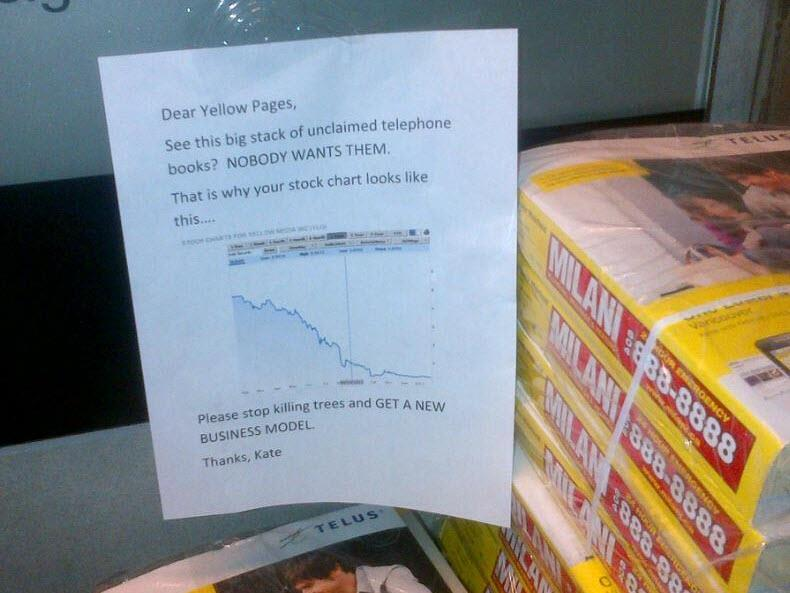 Looks like yellow pages need some continued education on supply and demand.