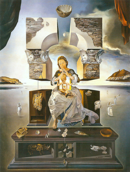 "surrealism:  Sunday Dalí: The Madonna of Port lligat, 1950. Oil on canvas, 144⅛ x 96 inches. Fukuoka Art Museum, Fukuoka, Japan. This is the second, and final, version of Dalí's Madonnas. Unlike the first version this one is a massive canvas and is considered to be among Dalí's best works. At its unveiling Dalí explained to reporters that this version was ""completely changed"" noting that the focus has been moved from the face of the Madonna to the Christ child. Dalí explained:  [M]odern physics has revealed to us increasingly the dematerialization which exists in all nature and that is the reason why the material body of my Madonna does not exist and why in place of a torso you find a tabernacle 'filled with Heaven'. But while everything floating in space denotes spirituality it also represents our concept of the atomic system — today's counterpart of divine gravitation.1    Anonymous, ""Toward Raphael,"" Time, 17 April 1950, pp. 65, quoted in Michael R. Taylor, Dalí, (Venice: Rizzoli, 2004), 350. ↩"