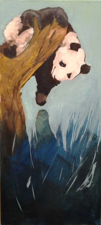 Painting homework I had to do for class today. Panda i'm painting in my mid term