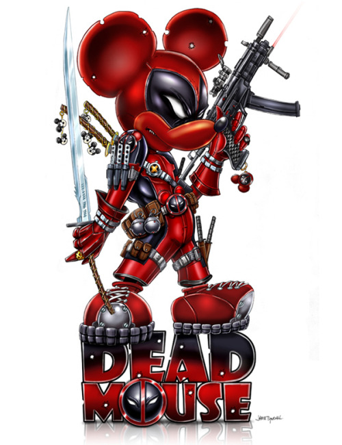 There is no way that Mickey Mouse is going away now! Jamie Tyndall's Deadpool update to the friendly Disney character will be available at both MegaCon in Florida and WonderCon in Anaheim. Related Rampage: Assassin's Creed Sisterhood Deadmouse by Jamie Tyndall (deviantART) (Twitter)
