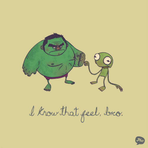 laughingsquid:  The Hulk and Kermit the Frog Find Share Their Pain on Being Green