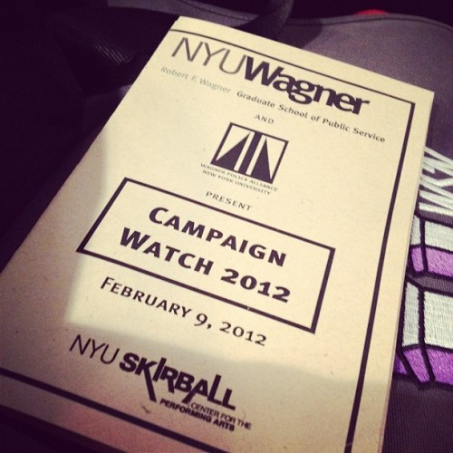Campaign Watch 2012 program @nyuwagner #nyucw12  (Taken with Instagram at NYU Skirball Center for the Performing Arts)