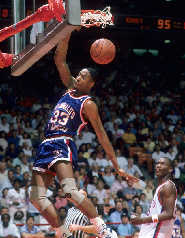 Alonzo Mourning flushes home a dunk during the 1988 McDonald's All-American Game. The rosters for the 2012 game will be announced tonight. Check out the gallery below for some NBA stars (past and present) who played in the McDonald's game. (John Biever/SI) GALLERY: McDonald's All-Americans Through The Years