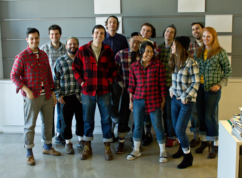 Today at Fast Company we decided to dress up like the Editor of Co.Exist without telling him! Morgan (pictured left center) likes to ride his bike so the pant rolling was essential.  Don't know Co.Exist yet? They're our new sister site focused on world changing ideas and innovation. If you like futuristic tech stories and big ideas about how to live better you'll love this site. Hit 'em up on Twitter too, @FastCoExist!