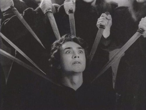 Still from the deleted scene of the Oath of the Oprichniki, in Ivan the Terrible Part III