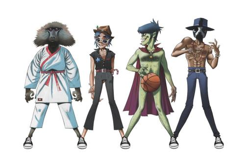 New Jamie Hewlett Art!!!   Gorillaz featuring Andre 3000 and James Murphy!!! This is for their new song released 2.23.12