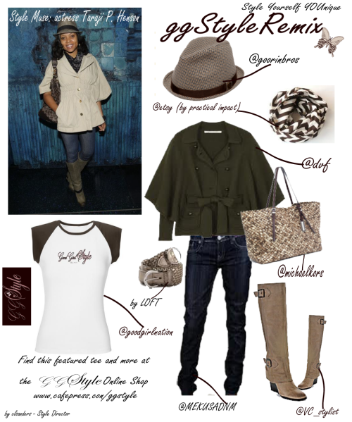 Style Muse: Actress Taraji P. Henson. I absolutely adore hats. They add just the right touch to your ensemble when done right and they make me look cooler than I am. Kidding! OK I'm not kidding. I'm really that cool and laid back. You would want to get to know me. ANY WHO…the hat caught my attention in looking for a style muse to remix but the cape really struck me. What I like about this look is the easy going style vibe it permeates, her use of a neutral color palette but mixed with various textures and prints. I was sold on recreating this look with great pieces I found. If you want a really cool hat, Goorin Brothers have the coolest. Check them out. While the hat is a houndstooth print, it pairs well with a scarf of a similar yet different print. The infinity scarf by Practical Impact on Etsy has a bigger and bolder chevron print. These two prints compliment on another rather than make your look too busy. What I chose to change in this ggStyle Remix is to go with a cape of a darker hue (Diane Von Furstenberg) for the season we are in but add lighter accessories to brighten it up. I personally think Taraji is sporting a Good Girl Style cap sleeve tee under that cape (it could happen) so I featured this tee in the remix. This tee is stylish, comfy and form fitting so it won't feel or look bulky when layered. I've chosen MEK Denim Vienna style dark skinny jeans and you can't go wrong with a Michael Kors bag and Vince Camuto boots, two of my favorite designers. Lastly I incorporated a little bling factor with the metallic braided belt by LOFT. Recreate any look you find that inspires you by performing your own GGStyle REMIX. Remember, it is not about an exact item, a particular brand, nor the cost. Go for the LOOK and #StyleYourselfYOUnique. For our complete collection of tees and more, visit us at www.cafepress.com/ggstyle. Follow GGStyle on twitter. ~Charlene/Style Director for GGStyle Photo source of Taraji P. Henson unknown