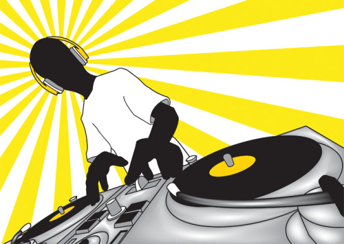 "From the DJ Hero videogame, this project was made for a DJ Contest in ""Subma"" in Salamanca, Spain. Colors were chosen thiking in an easy and cheaper print. Outlined in Photoshop with the pen  tool, colored in Illustrator. Grandient Mesh used in the dj table.  Background made with Corel Draw by Rosa (Thank you Rosa!)."