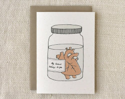 daily-diy-tutorials:  Anniversary Card Heart in a Jar by witandwhistle on Etsy