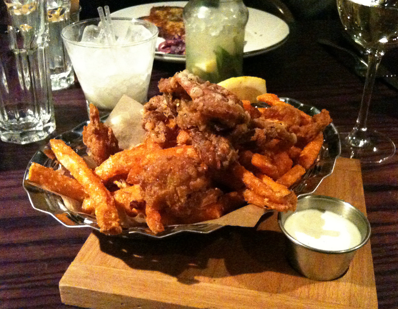 toph3r:  Soft shell crab & sweet potato fries.