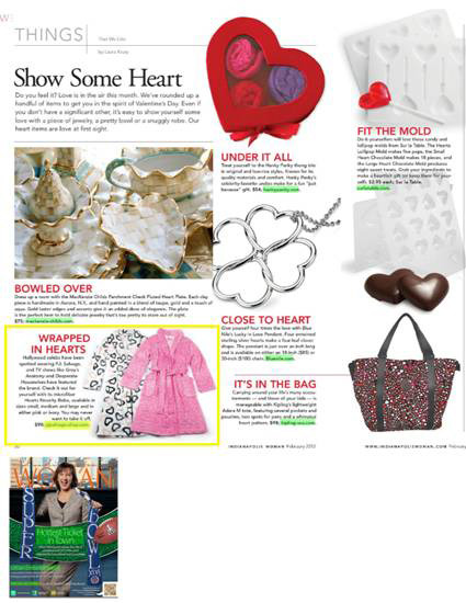 P.J. Salvage in the Valentine's Day gift guide in Indianapolis Woman Magazine for February 2012.