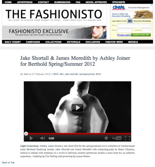 Exclusive Premiere of my 2nd Fashion Film for BERTHOLD SS12 Collection of Fashionisto.com  Read the full article here